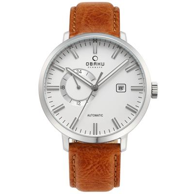 OBAKU 單眼羅伯機械皮帶腕錶(V210GTCIRZ)-白x淺棕色錶帶/45mm