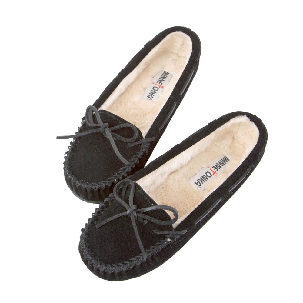 MINNETONKA-秋冬經典麂皮柔軟毛裡拖鞋 - 黑色