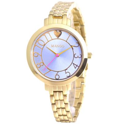 MANGO 愛戀方位不鏽鋼時尚腕錶-藍/34mm