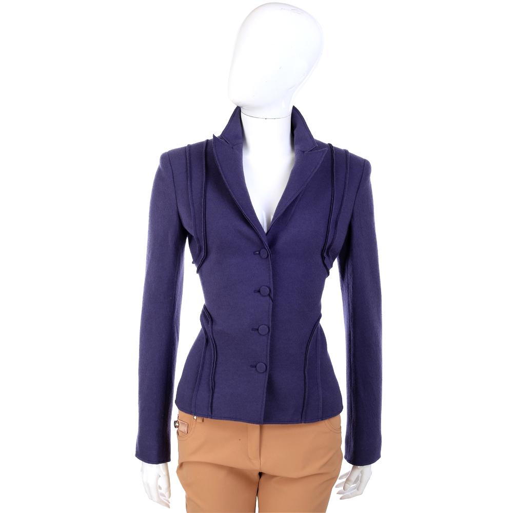 ALBERTA FERRETTI  紫色抓摺造型毛料外套