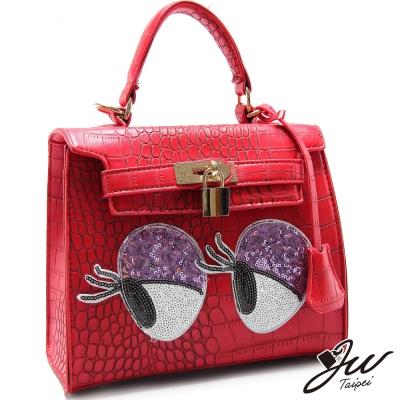 JW-煙燻大眼亮片鱷魚紋手提側背包-熱情紅-快