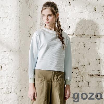 gozo-網格壓摺短版特色圓領上衣-淺藍