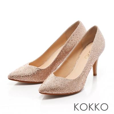 KOKKO-經典手工尖頭璀璨桃心高跟鞋 - 晴粉