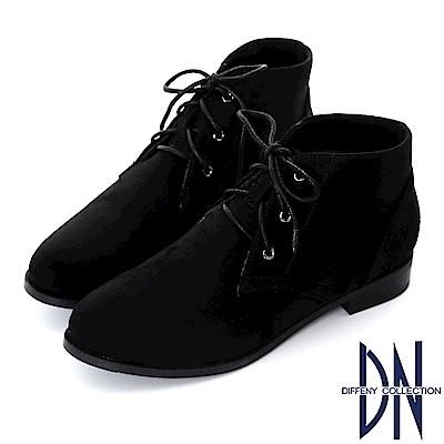 DN 迷人率性 仿麂皮絨布綁帶短靴-黑