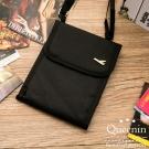 DF Queenin - 韓版隨身旅行斜背式護照包證件包-黑色