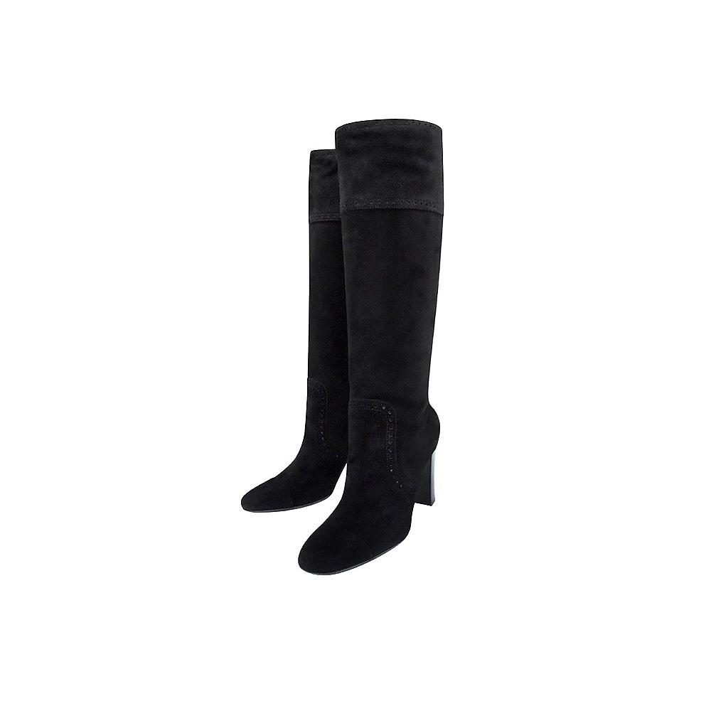 TODS 麂皮尖楦時尚高跟長靴-38/39/39.5號(黑色)