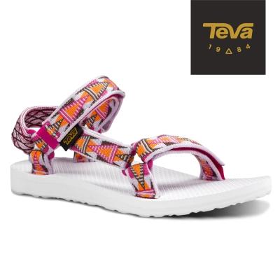 TEVA 美國-女 Original 戶外休閒系列-經典緹花織帶涼鞋 格菱紫