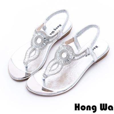 Hong Wa - 埃及風時尚3D水鑽飾釦休閒涼鞋 - 銀