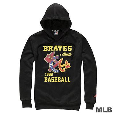MLB-亞特蘭大勇士隊連帽鏡像印花長袖厚T恤-黑(男)