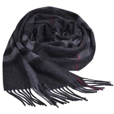 BURBERRY 經典大格紋喀什米爾羊毛圍巾(炭灰格紋/ 168 x 30 )