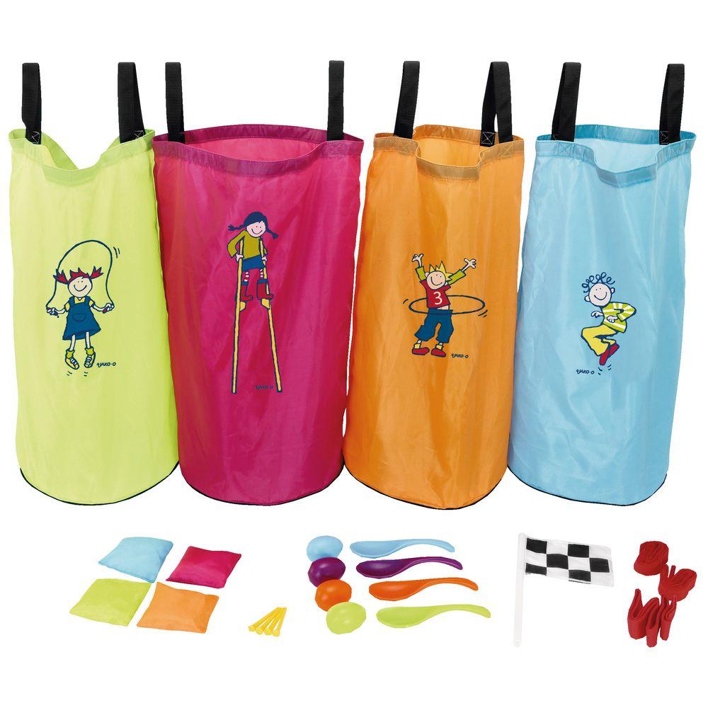 JAKO-O 德國野酷 兒童遊戲組合25件組(跳跳袋/兩人三腳/湯匙雞蛋/沙包擲遠)