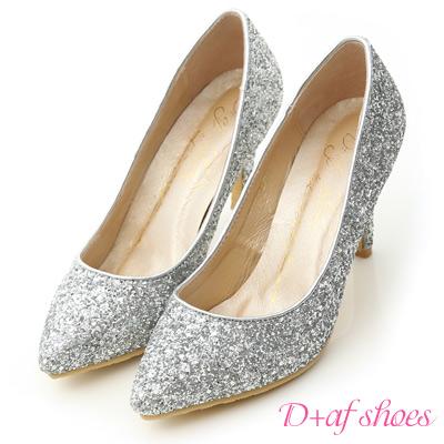 D+AF 絕美閃耀.滿滿亮片美型尖頭高跟鞋*銀