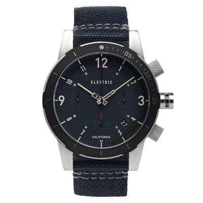 ELECTRIC FW02系列-復古強悍三眼計時腕錶-黑面x黑帆布帶/44mm