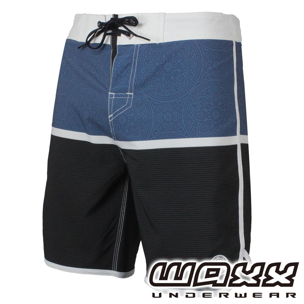 WAXX熱浪系列-黑藍拼接快乾型男衝浪褲(18英吋)