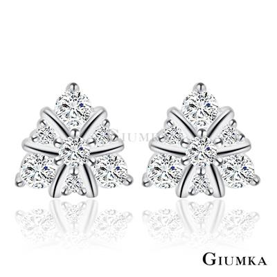 GIUMKA純銀耳環 幾何元素三角形滿鑽925純銀-銀色