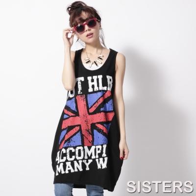 中大尺碼 英國國旗兩側寬擺圓弧長版背心裙-SISTERS