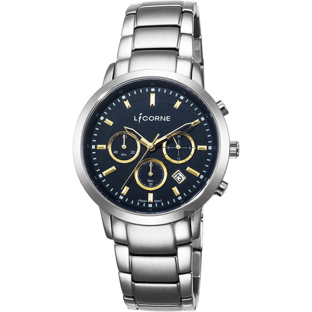 LICORNE 型男三眼計時手錶-黑x金時標/44mm