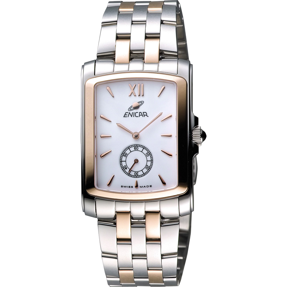ENICAR 英納格 典藏小秒針石英女錶-白x雙色版/30mm