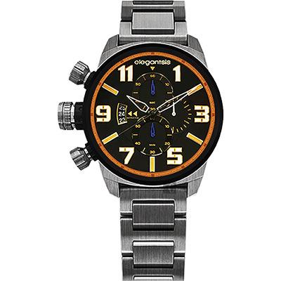 elegantsis Army 叢林戰鬥強悍三眼計時腕錶-黑x鐵灰/42mm