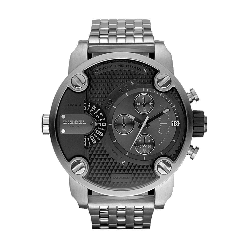 DIESEL Only The Brave 雙時區計時腕錶-黑/銀/51mm