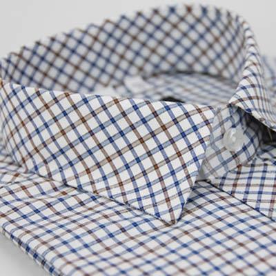 金‧安德森 棕深藍格紋窄版短袖襯衫