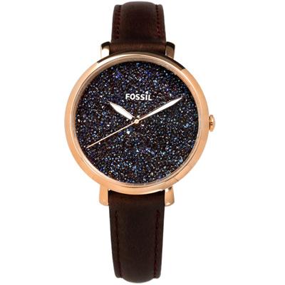 FOSSIL  星光閃耀時尚夜光防水真皮手錶-藍黑x玫瑰金框x咖啡/36mm