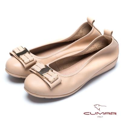 CUMAR流行時尚 金屬蝴蝶結真皮芭蕾舞鞋-杏色