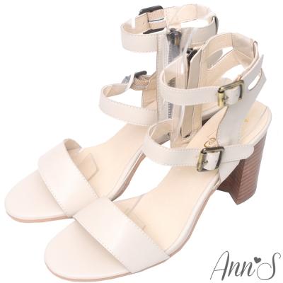 Ann'S香榭街道-造型後空木質粗跟涼鞋-米白