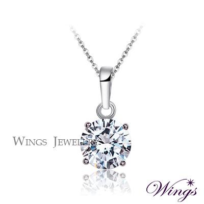 Wings 璀璨寶石 經典四爪鑲 2.5克拉單顆鋯石項鍊