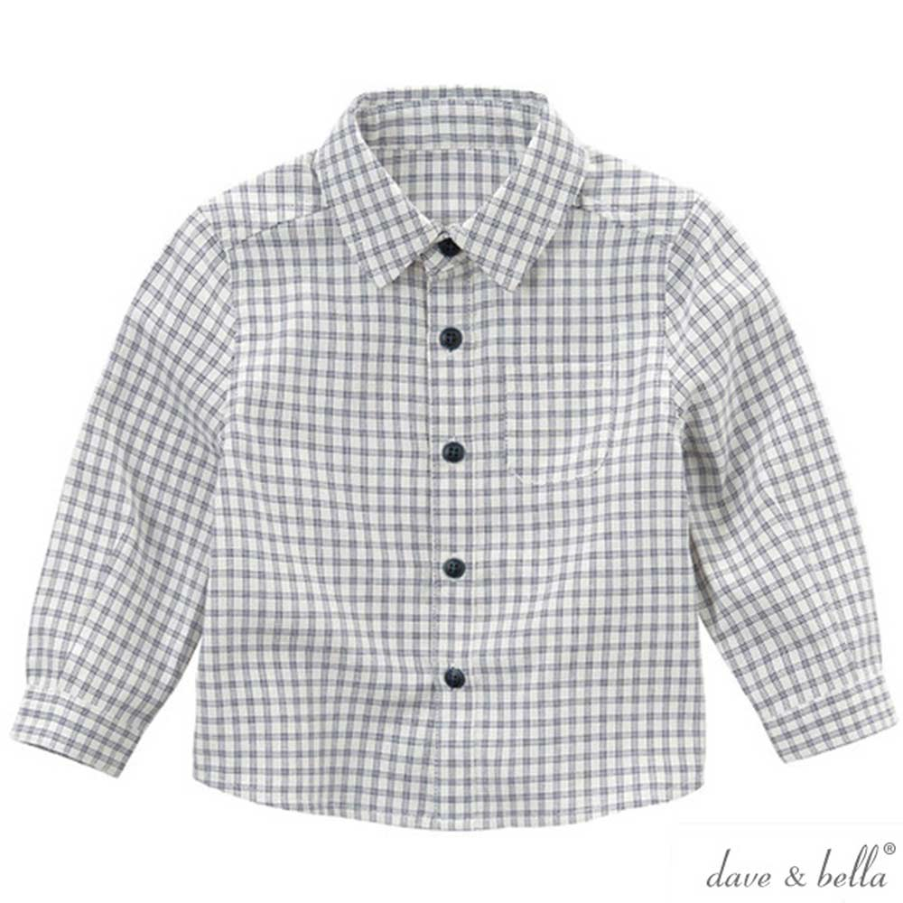 Dave Bella 深藍白格紋長袖襯衫