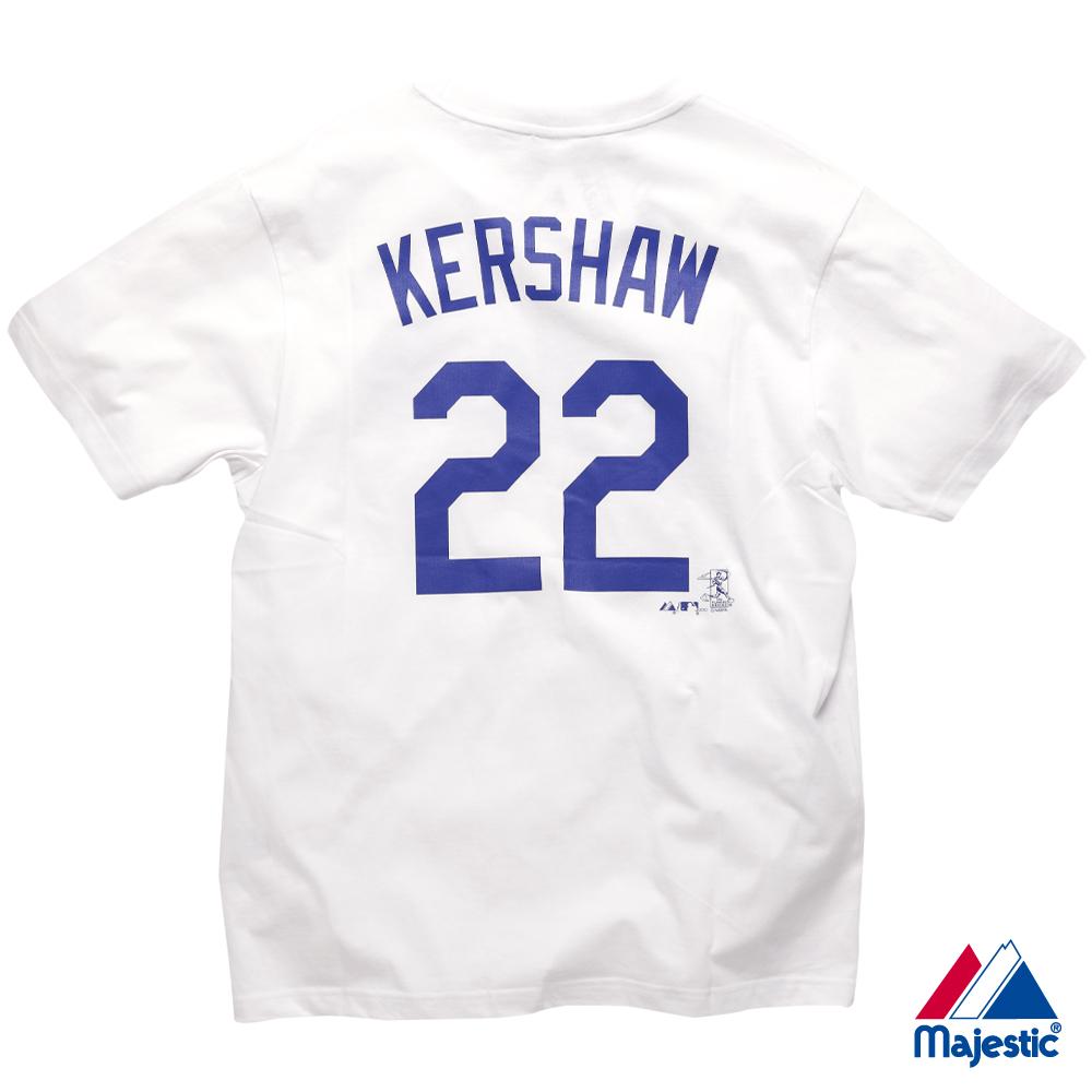 Majestic-道奇隊KERSHAW背號22號T恤-白