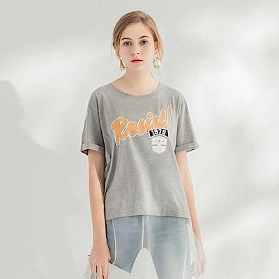 字母印花拼接紗襬造型圓領短袖寬鬆上衣.2色-OB大尺碼