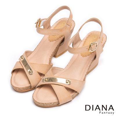 DIANA-歐美風格-簡約飾釦交叉繞帶真皮涼跟鞋-卡其