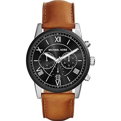 Michael Kors 古羅馬三眼計時腕錶-黑x咖啡/45mm