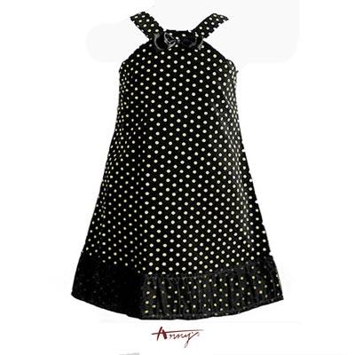 Anny甜心點點緞質花朵絨芯洋裝*7226黑