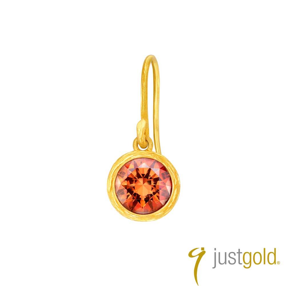 鎮金店Just Gold 螢火系列黃金單耳耳環(耳勾)-咖啡色