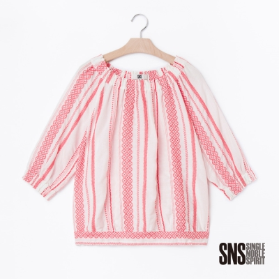 SNS 熱帶民俗藝術風縮口袖設計上衣(1色)