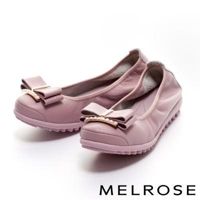 MELROSE 蝴蝶結珍珠飾釦牛皮厚底休閒鞋-紫
