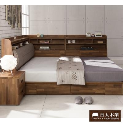 日本直人木業 STYLE積層木5尺雙人抽屜床組加7尺收納邊櫃