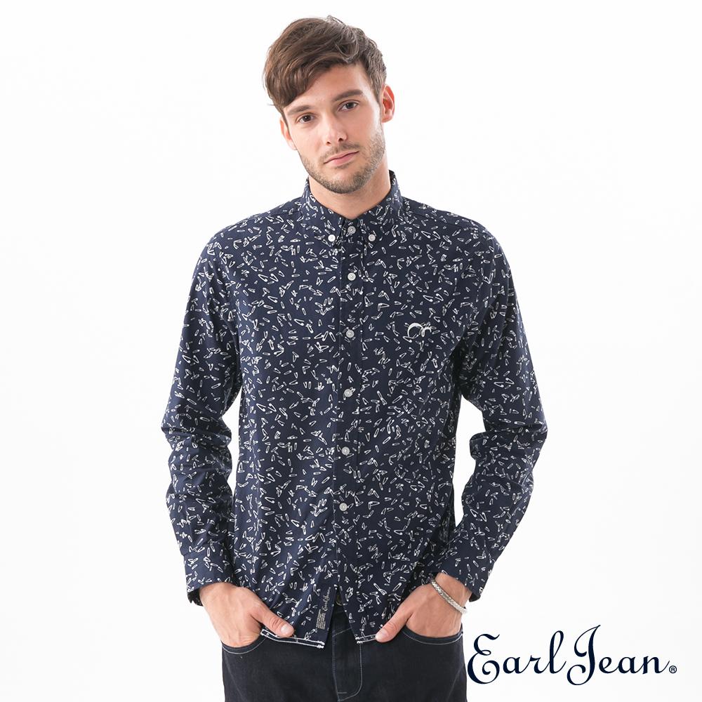 Earl Jean別針滿版印花襯衫-男