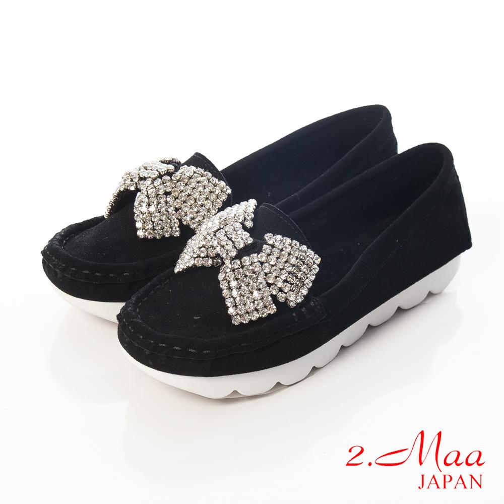 2.Maa 精緻流行新趨勢質感牛麂皮x鑽飾蝴蝶結休閒鞋-黑