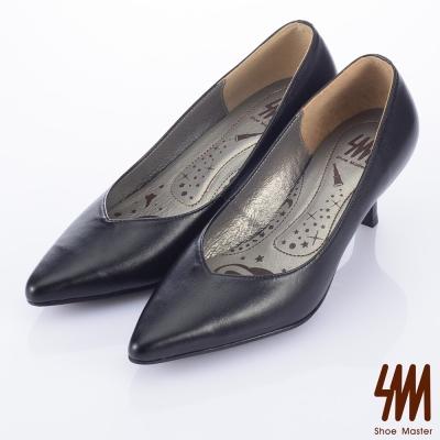 SM-臺灣製全真皮-厚軟鞋墊-素面尖頭中高跟鞋-黑色