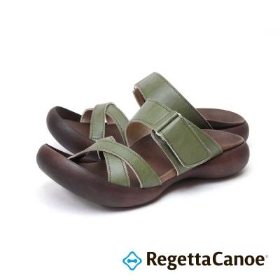 RegettaCanoe-交叉皮革鞋面 可調式樂步鞋-卡其色
