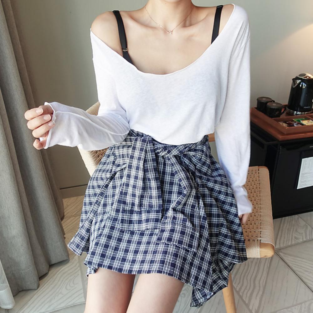 La Belleza假格紋襯衫綁帶不規則格子裙小藍格