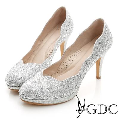 GDC幸福-色彩水鑽側波浪造型真皮中跟鞋(婚鞋)-銀色