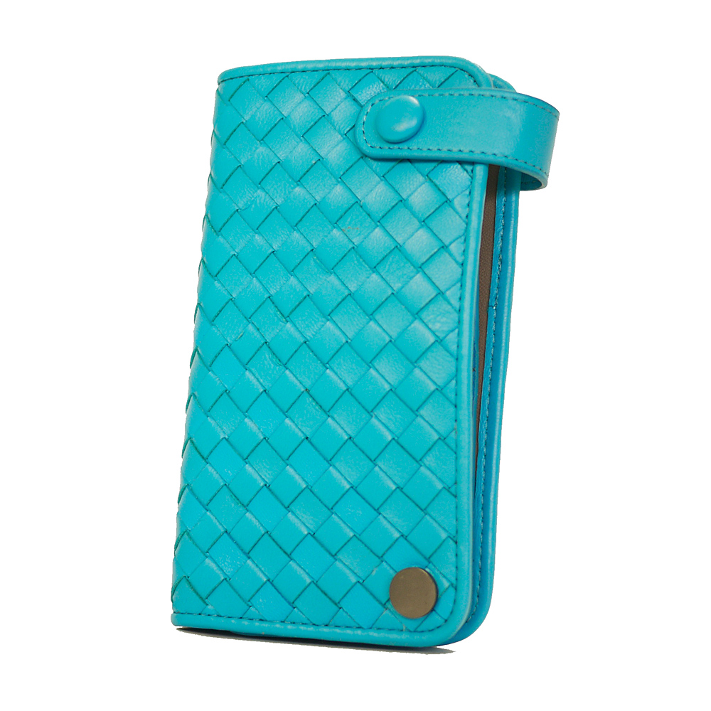 Yasmine編織綿羊皮專業精英釘釦卡片收納夾(橄藍)