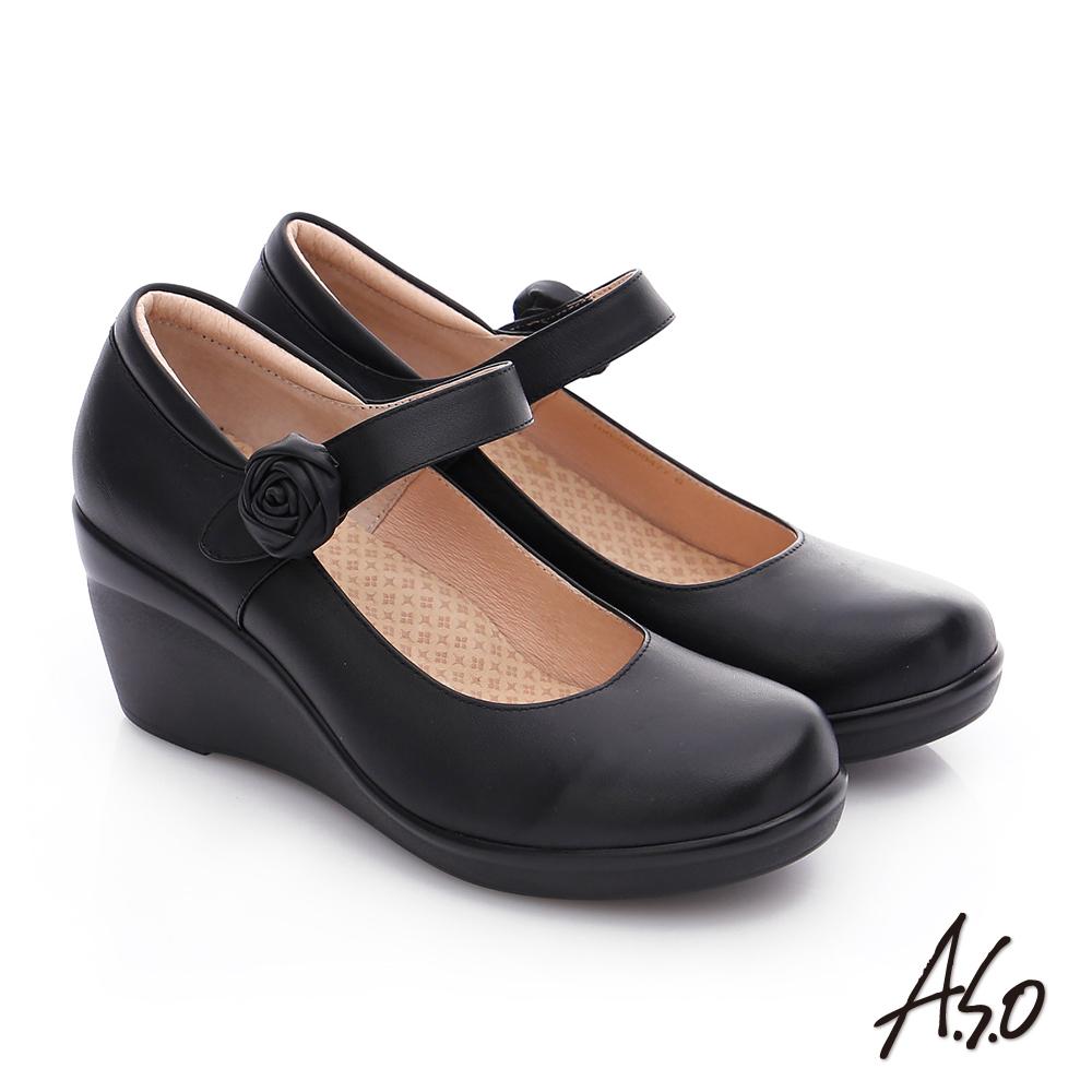 A.S.O 美型氣墊 全真皮魔鬼氈奈米楔型氣墊鞋  黑