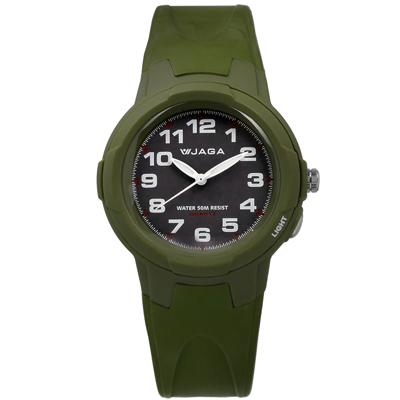 JAGA 捷卡 清晰阿拉伯數字刻度 指針夜光 運動橡膠手錶-深灰x墨綠/39mm