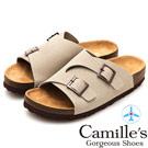 Camille's 韓國空運-正韓製-雙皮帶釦休閒拖鞋-可可灰