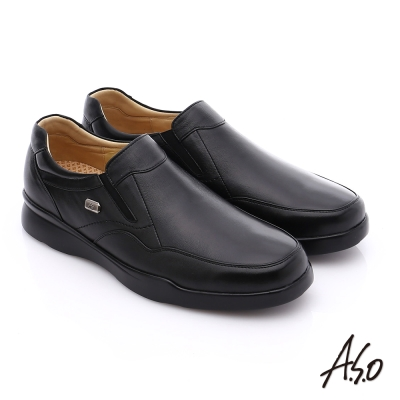 A.S.O 厚切氣墊 真皮直套式鬆緊帶奈米皮鞋 黑色